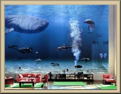 Дизайн кухни с аквариумом